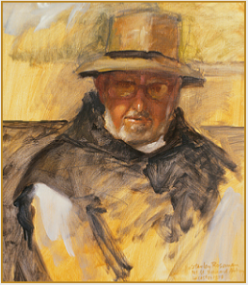 "Painting by Stanley Roseman, ""Father Benedict, Portrait of a Trappist Monk,"" 1978, Mount St. Bernard Abbey, England, oil on canvas, Private collection, Switzerland. © Stanley Roseman"