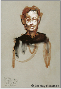 "Drawing by Stanley Roseman, ""Dom Bede, Portrait of a Benedictine Monk,"" 1980, St. Augustine's Abbey, Kent, England, chalks on paper, Victoria and Albert Museum, London. © Stanley Roseman."