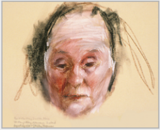 "Drawing by Stanley Roseman, ""Mother Abbess Mary Imelda,"" 1978, St. Mary's Abbey, Glencairn, Ireland, chalks on paper, British Museum, London. © Stanley Roseman"