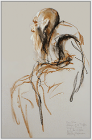 "Drawing by Stanley Roseman, ""Frère Elie at Vespers,"" 1982, Abbey of La Trappe, France, chalks on paper, Collection of the artist. © Stanley Roseman."