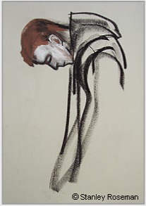 "Drawing by Stanley Roseman, ""Dom Simon at Vespers,"" 1999, Elmore Abbey, England, chalks on paper. Collection of the artist. © Stanley Roseman"