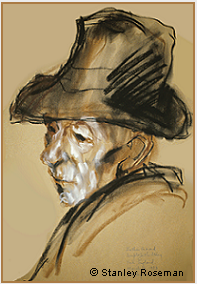 "Drawing by Stanley Roseman, ""Dom Gerard Sitwell,"" 1983, Ampleforth Abbey, England, chalks on paper, Collection Ampleforth Abbey. © Stanley Roseman."