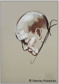 "Drawing by Stanley Roseman, ""Dom Francis, Portrait of a Benedictine Monk in Prayer,"" 1999, Elmore Abbey, England, chalks on paper, Private collection. © Stanley Roseman"