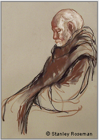 "Drawing by Stanley Roseman, ""Abbot Godfrey in Prayer,"" 1984, Nashdom Abbey, England, chalks on paper. Private Collection. © Stanley Roseman"