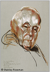 "Drawing by Stanley Roseman, ""Dom Sylvester Mooney, Abbot Emeritus,"" 1984, Douai Abbey, England, chalks on paper, British Museum, London. © Stanley Roseman."