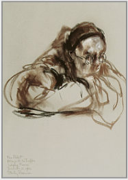 "Drawing by Stanley Roseman, ""Père Robert at Vigils,"" 1982, Abbey of La Trappe, France, chalks on paper, Graphische Sammlung Albertina, Vienna. © Stanley Roseman"