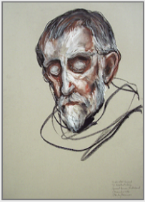 "Drawing by Stanley Roseman, ""Abbot Gerard in Prayer,"" 1997, St. Adelbert Abbey, the Netherlands, chalks on paper, Collection St. Adelbert Abbey. © Stanley Roseman"