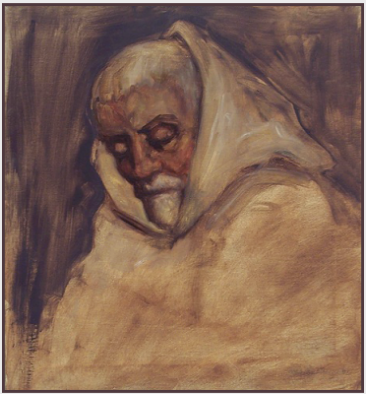 "Painting by Stanley Roseman, ""Frère Samuel, Portrait of a Trappist Monk in Prayer,'' 2002, Abbey of La Trappe, France, oil on canvas, Private collection, France. © Stanley Roseman"