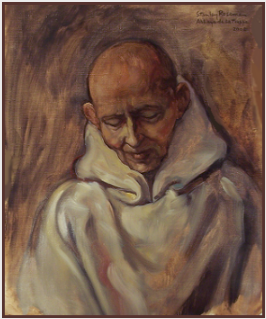 "Painting by Stanley Roseman, ""Frère Tarsicius, Portrait of a Trappist Monk in Prayer,'' 2002, Abbey of La Trappe, France, oil on canvas. © Stanley Roseman"