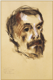 "Drawing by Stanley Roseman, ""Frère Samuel,"" 1979, Abbey of La Trappe, France, chalks on paper, John Davis Hatch Collection. © Stanley Roseman"