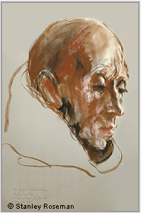 "Drawing by Stanley Roseman, ""Portrait of a Carthusian Monk,'' 1984, St. Hugh's Charterhouse, England, chalks on paper, Mead Art Museum, Amherst College, Amherst, Massachusetts. © Stanley Roseman."