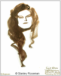 "Portrait by Stanley Roseman, ""Birgit Nilsson,'' 1974, brush, bistre ink, and wash, Royal Academy of Music, Stockholm. © Stanley Roseman"