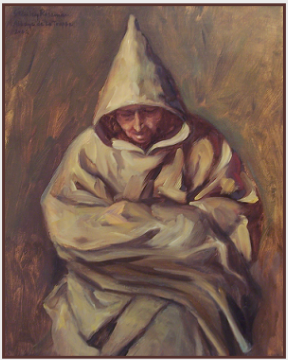 "Painting by Stanley Roseman, ""Frère Tarsicius in Prayer,'' 2002, Abbey of La Trappe, France, oil on canvas, Private collection, Switzerland. © Stanley Roseman"