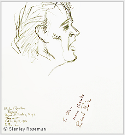 "Drawing by Stanley Roseman of Richard Burton in ""Equus,"" 1976, pencil on paper. Drawing autographed and inscribed, ""To Stan many thanks Richard Burton."" © Stanley Roseman"