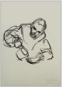"Drawing by Stanley Roseman, ""Frère Samuel in the Refectory,"" 1997, Abbey of La Trappe, France, black chalk on paper, Private collection, France. © Stanley Roseman."
