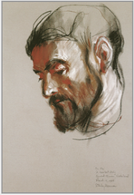 "Drawing by Stanley Roseman, ""Brother Ole, Portrait of a Benedictine Monk,"" 1984, St. Adelbert Abbey, the Netherlands, chalks on paper, Private collection, Switzerland. © Stanley Roseman"