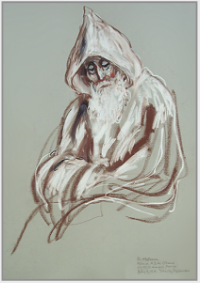 "Drawing by Stanley Roseman, ""Frère Materne in Prayer,"" 1979, Abbey of  Cîteaux, France, chalks on paper, Private collection, France. © Stanley Roseman"