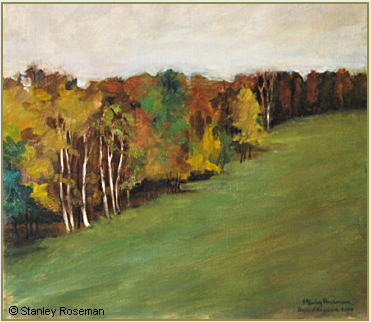 "Landscape painting by Stanley Roseman , ""Pasture and Woodland in Autumn,"" 2004, oil on canvas, Private collection, Belgium. © Stanley Roseman"