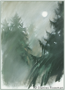 "Landscape drawing by Stanley Roseman , ""A Foggy Morning in the Vosges,"" 2000, chalks and pastels on paper, Private collection, France. © Stanley Roseman"