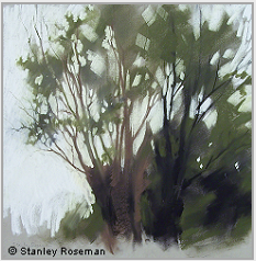 "Landscape drawing by Stanley Roseman , ""Willows,"" 2002, chalks and pastels on paper, Private collection, Switzerland. © Stanley Roseman"