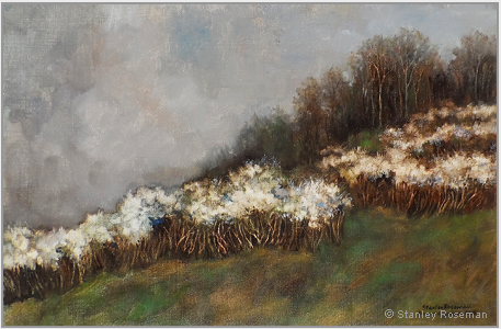 "Landscape painting by Stanley Roseman , ""Spring Afternoon, White Blossoms on a Hillside in Lorraine,"" 20015, oil on canvas, Private collection, France. © Stanley Roseman"