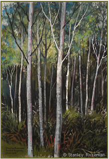 "Landscape drawing by Stanley Roseman , ""A Grove of Birches,"" 2009, chalks and pastels on paper, Private collection, Belgium. © Stanley Roseman"