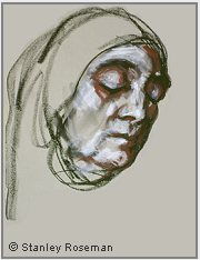 "Drawing by Stanley Roseman, ""Sister Paola at Vespers,"" 1998, Casa Emmaus, Italy, chalks on paper, Private collection. Switzerland. © Stanley Roseman."