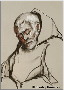 "Drawing by Stanley Roseman, ""Frère Samuel at Compline,"" 2002, Abbey of La Trappe, France, chalks on paper, Private collection, France. © Stanley Roseman"