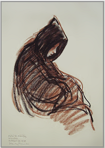 "Drawing by Stanley Roseman, ""A Benedictine Monk in Choir,''1978, St. Bonifaz Abbey, Germany, chalks on paper, Private collection. © Stanley Roseman"