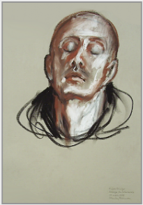 "Drawing by Stanley Roseman, ""Frère Olivier in Prayer,"" 1998, Abbey of Solesmes, France, chalks on paper, Private collection, France. © Stanley Roseman"