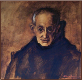 "Painting by Stanley Roseman, ""Dom Henry, Portrait of a Benedictine Monk,"" 1978, St. Augustine's Abbey, England, oil on canvas, Musée des Beaux-Arts, Rouen. © Stanley Roseman."