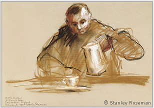 "Drawing by Stanley Roseman, ""Brother Andrew in the Refectory,"" 1980, Farnborough Abbey, England, chalks on paper, Musée des Beaux-Arts, Bordeaux. © Stanley Roseman."