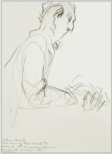 "Drawing by Stanley Roseman, ""Vladimir Horowitz in Concert at Carnegie Hall,'' 1978, pencil on paper, Private collection. © Stanley Roseman"
