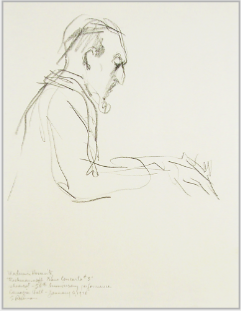 "Drawing by Stanley Roseman, ""Vladimir Horowitz in Concert at Carnegie Hall,'' 1978, pencil on paper, Collection of the artist. © Stanley Roseman"