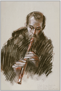 "Drawing by Stanley Roseman, ""Brother Florian playing the Recorder,"" 1978, Tyniec Abbey, Poland, chalks on paper, Private collection, Switzerland. © Stanley Roseman."