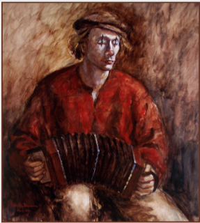 "Painting by Stanley Roseman, ""Christophe playing the Accordion,"" Paris, 1995, oil on canvas, Collection of the artist. © Stanley Roseman"