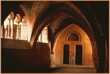 The thirteenth-century cloister of the Abbey of Subiaco, Italy. © Photo by Ronald Davis
