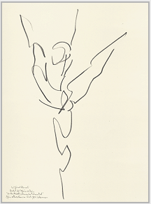 "Drawing by Stanley Roseman, ""Wilfried Romoli,"" 1993, Paris Opéra Ballet, ""In the Middle, Somewhat Elevated,"" pencil on paper, Palais des Beaux-Arts, Lille. © Stanley Roseman"