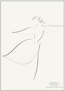 "Drawing by Stanley Roseman, ""Elisabeth Maurin,"" 1996,  Paris Opéra Ballet, ""The Nutcracker,"" Uffizi, Gabinetto Disegni e Stampe, Florence. © Stanley Roseman"