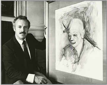 Ronald Davis presenting Stanley Roseman's beautiful portrait of the celebrated Ringling Bros. and Barnum & Bailey Circus clown Frosty Little to the Musée des Beaux-Arts, Bordeaux, 1984. Photo courtesy of the Musée des Beaux-Arts, Bordeaux.