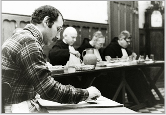 Stanley Roseman drawing in the refectory of St. Augustine's Abbey, Ramsgate, Kent, 1979. © Photo by Ronald Davis.