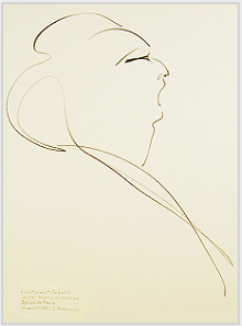 "Drawing by Stanley Roseman, ""Montserrat Caballé in Concert at the Paris Opéra,"" 1993, pencil on paper, Private collection. © Stanley Roseman"