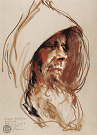 "Drawing by Stanley Roseman, ""Portrait of a Carthusian Monk in Prayer,'' 1984, St. Hugh's Charterhouse, England, chalks on paper, Teylers Museum, The Netherlands. © Stanley Roseman."