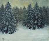 "Painting by Stanley Roseman, ""Pines on a Wintry Afternoon,"" 2009, oil on canvas, Private collection, France. © Stanley Roseman."