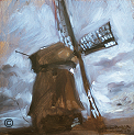 "Painting by Stanley Roseman, ""Windmill against a Stormy Sky,"" 1978, oil on panel, Private collection, The Netherlands. © Stanley Roseman."